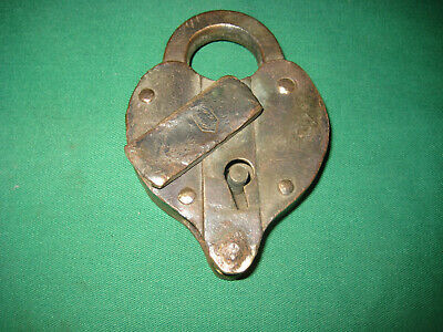Vinatage Heavy Brass Padlock Heartshaped, No Key, Chicago