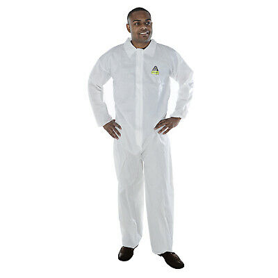WHITE 25//CASE elastic wrists Wellcare Microporous COVERALL with hood and boots