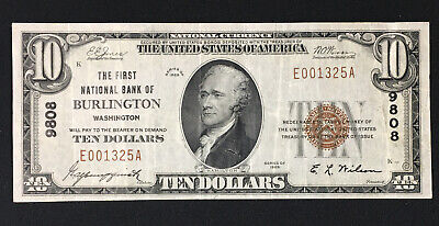 1929 $10 The First National Bank of BURLINGTON, WA Nat. Currency Charter #9808