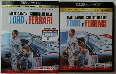 Ford V Ferrari 4K Ultra Hd Blu Ray 2 Disc Set + Slipcover Sleeve Free Shipping