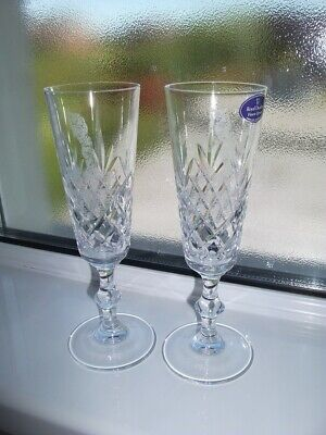 Royal Doulton Crystal Dorchester Cut - Champagne Glass with Golfer etched