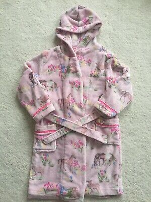 Girls Monsoon Hooded Pink Hooded Dressing Gown Age 7-8 Years