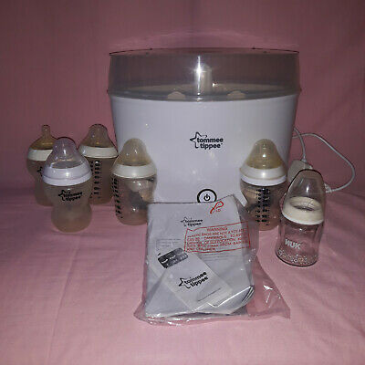 Tommee Tippee Electric Steam Steriliser Model 1069 Kit With Babby Bottles Used