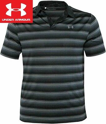 Under Armour Golf Polo Shirt L Black/Gray Stripe Heatgear Coolswitch 1298947 001
