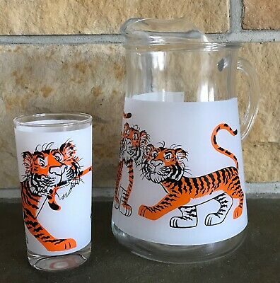 Vintage 60'S Esso Tiger By The Tail Frosted Pitcher & Tumbler Exxon Gas Station