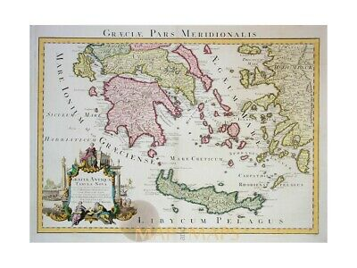New Greece Graeciae Antiquae old map Covens & Mortier 1742