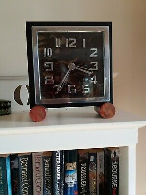 Vintage French Art Deco 1930s Marble Mantel Clock