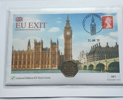 2020 UK Brexit 50p Coin & Stamp Cover LIMITED EDITION 441/995  IN HAND.SEE PICS