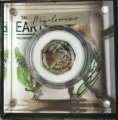 Dinosaur 50p 2020 Coloured Silver Proof Coin Royal Mint with coa