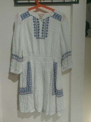 Girls Storm By Monsoon White/Blue   Dress Age 10 Boho Holiday Beach Festival #K