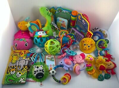 Bundle of Baby Toys, Rattles, Books, and Teethers. Newborn Toddler Baby