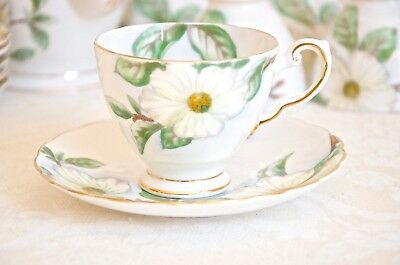 Dogwood floral small cup & saucer. Vintage fine bone china Made in England
