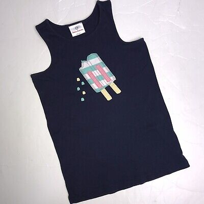 Hanna Andersson 150 Tank Top Applique Popsicle Navy Blue Ribbed Shirt 10 12