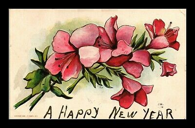 Dr Jim Stamps Us Flowers Happy New Year Embossed Topical Greetings Postcard