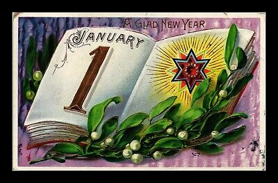 Dr Jim Stamps Us Glad New Year January First Embossed Topical Greetings Postcard