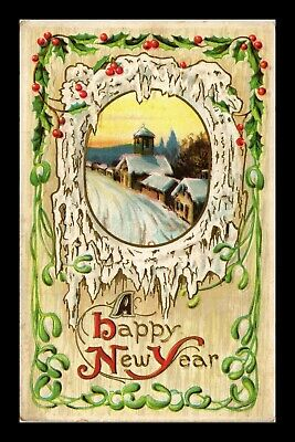 Dr Jim Stamps Us Happy New Year Embossed Topical Greetings Postcard