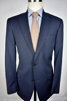 Hart Schaffner Marx Gold Trumpeter Blue Striped Wool Two Piece Suit Size: 40L