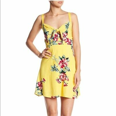 Socialite Women Girl Front Knot Yellow Floral Dress Mini Casual Travel Medium