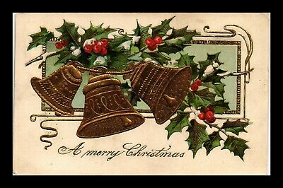 Dr Jim Stamps Us Merry Christmas Bells Holly Topical Embossed Postcard