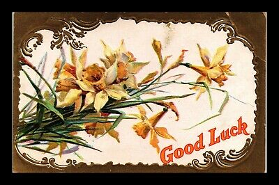 Dr Jim Stamps Us Good Luck Flowers Topical Greetings Embossed Postcard
