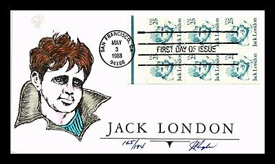 Dr Jim Stamps Us Jack London Hand Colored First Day Cover Booklet Pane