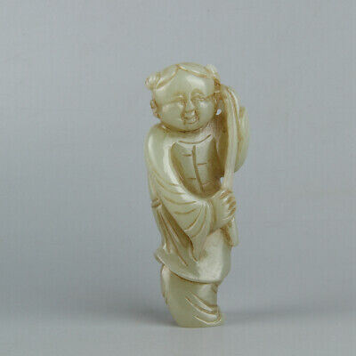 Chinese Exquisite Hand carved Hetian jade statue
