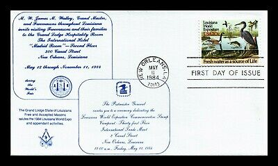 Dr Jim Stamps Us Grand Masonic Lodge Louisiana World Exposition First Day Cover