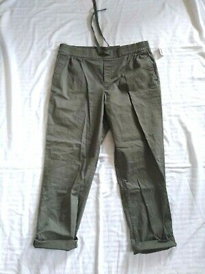 OLD NAVY Women 10 / L Green Cotton Stretch Drawstring Tapered Pants NWT