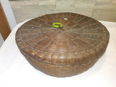 "Antique Hand Woven 12"" Round Wicker Lidded Sewing Wedding Basket 4"" height"