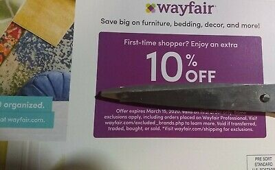 WAYFAIR Coupon Promo Code - 10% Off First Time Order - Expires 3/15/20