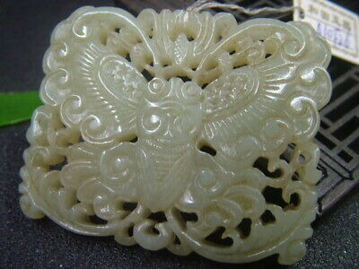 Antique Chinese Nephrite Celadon Hetian-  jade Hollow butterfly Statues/Pendant