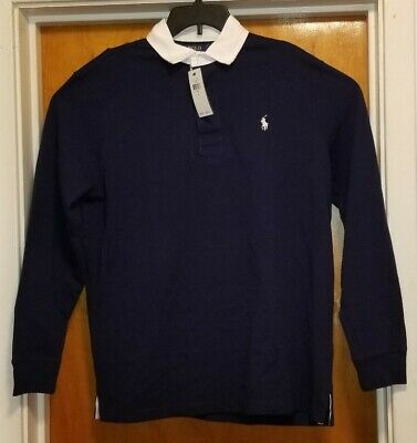 NWT Polo Ralph Lauren SOLID NAVY BLUE Rugby Shirt Men's L Long Sleeve $98.50MSRP
