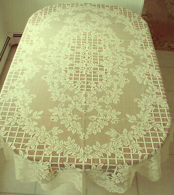 Trellis Rose Tablecloth 60x120 Ivory Rectangle Table cloth Oxford House NWOT