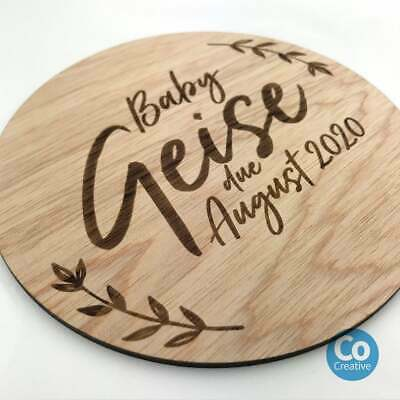Personalised Baby Name Wooden Announcement Discs - customised with any wording