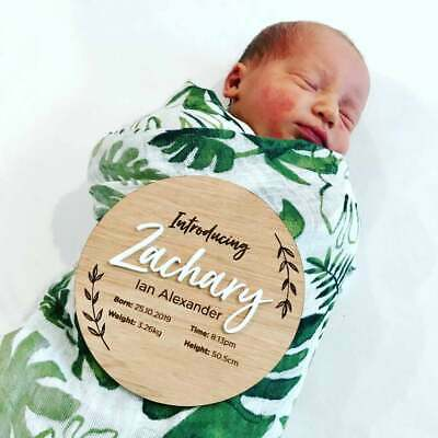 Custom Birth baby announcement plaque - wooden baby name disc