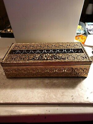 Vintage Antique Gold Metal Ornate Filigree Flowers Hinged Covered Tissue Box