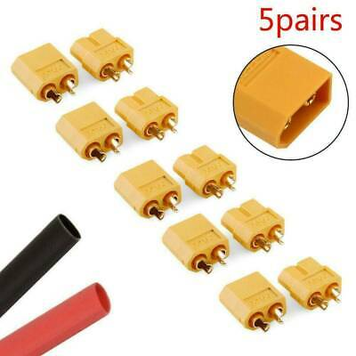 5 Pairs 10Pcs XT60 Male + Female Bullet Connectors Plugs Set for RC Lipo Battery