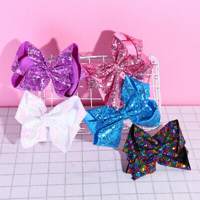 8inch Large Sequins Bowknot Hairpin Girls Pageant Headwear Hair Clip Decor Delux
