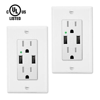 2 Pack High Speed USB Wall Outlet Charger 4.2A Dual Ports 15A Receptacle White