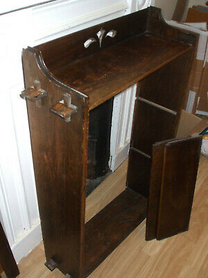 Antique Arts & Crafts oak pegged bookcase, early flat-pack model, for assembly