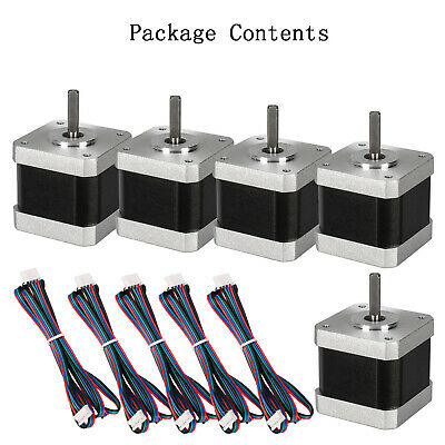5pcs Stepping Motors Kit 2-Phase 40mm 1.5A For 3D Printers/CNC With 1m Cable UK
