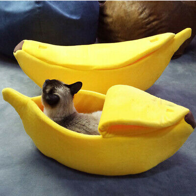 Small Banana Bed Pet Dog Kennel House Portable Puppy Cat Sleeping Mat Nest Cave