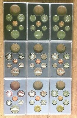 Lot of 9 Proof Canada Double Dollar Sets without Silver Dollar 1981 - 1989