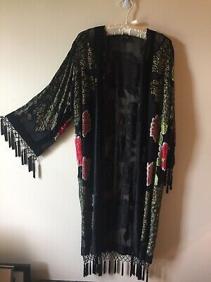 NWOT 100% SILK VELVET BURNOUT HAND BEADED FRINGE LONG KIMONO w/ PEACOCK/FLOWERS