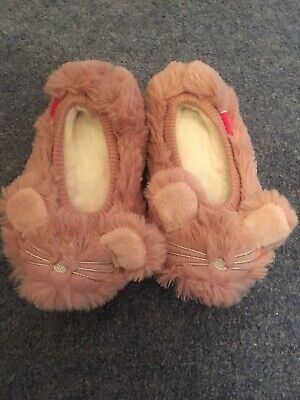 Joules pippie Pink Fluffy Mouse Slippers Size XS 8-9 NEW