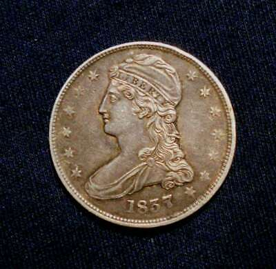 Nice Au 1837 Capped Bust Half Dollar Reeded Edge, Looks Great!!!!!