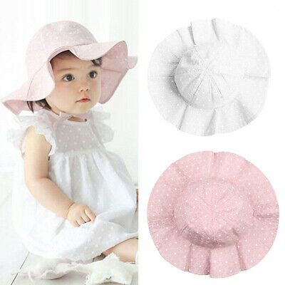 Toddler Infant Baby Girl Summer Wide Brim Sun Protection Beach Cotton Hat Lovely