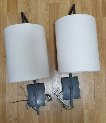 Pair of Vaughan Designs, lewes long arm Lamp Wall Lights,with Ivory linen shade