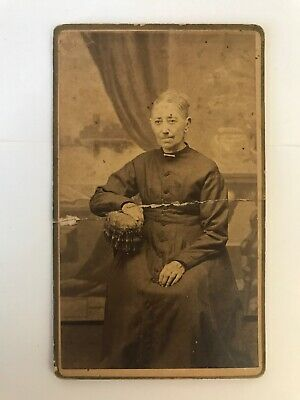 Antique 1800's Cabinet Card Photograph Mini Old Woman Dress Fancy Chair Clothing