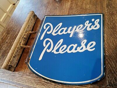 Original 1930's Players Please Tobacco double-sided enamel advertising sign